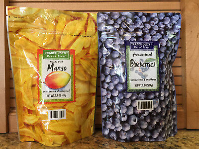 Trader Joe's Freeze Dried Blueberries and Freeze Dried Mango! 2 bags. Ships fast