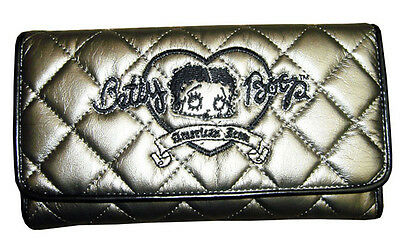 Licensed BETTY BOOP Silver Quilted Wallet + removable Checkbook holder