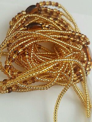 "African  Gold & Brown Waist Beads, 3-in-1, Body Jewellery, 46""inches long New"