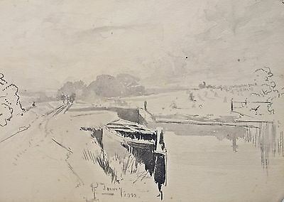 Fine 19th century watercolour  Richard Toovey (1861-1927). 1898, Canal landscape