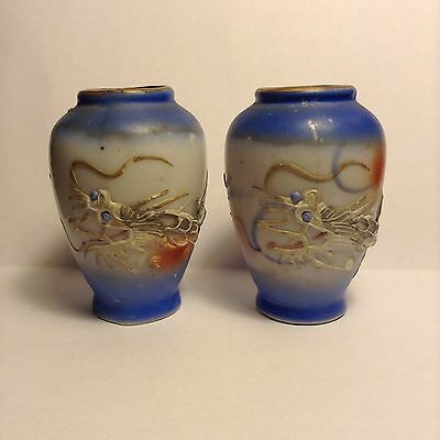 2 Antique Old Miniature Porcelain Asian Chinese Vases Mythical Dragons