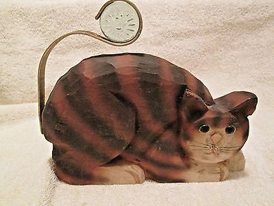 Handcrafted Wood Cat signed James Haddon Collection Philippines metal tail glass