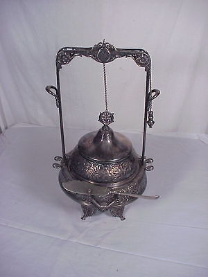 ANTIQUE VICTORIAN FANCY SILVER PLATE BUTTER DISH with  PULL CHAIN LID Toronto
