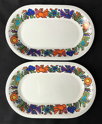 """Villeroy & Boch Acapulco Pair Of 9.5"""" Oval Plates Tray Colourful Birds & Plants"""