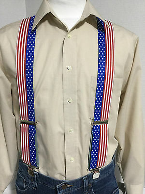"New, Men's Stars and Stripes, XL, 2 "", Adj. Suspenders / Braces, Made in the USA"