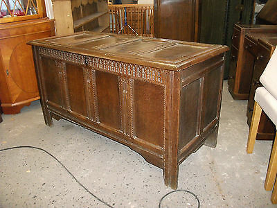 """Large 4' 6"""" Antique Carved Oak Coffer Blanket Box Ottoman Storage Chest Trunk"""
