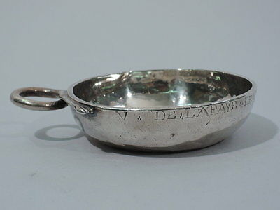 Antique Wine Taster - Tastevin with Snake Handle - French Silver - 18th C