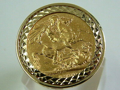 Gents 22Ct Gold 1890 Victorian Full Sovereign Coin In 9Ct Gold Ring Mount