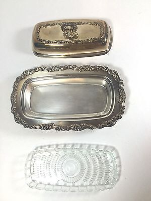 3 Piece WM A Rogers Silver Plate Butter Dish With Glass Insert & Lid Vintage