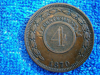 Paraguay: Scarce 4 Centesimos 1870 Very Thick Copper Coin Extremely Fine!!