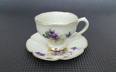 Leneige China Teacup & Saucer - EUC - Green & Purple Floral with Gold Trim