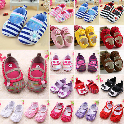 Infant Baby Girl Princess Floral Bowknot Shoes Soft Sole Crib Prewalker Sneakers
