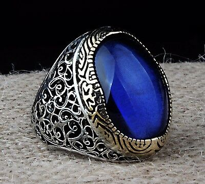 Turkish Handmade 925 Sterling Silver SPECIAL Sapphire Mens Ring Sz 11 usFree Rsz