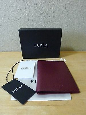 FURLA Burgundy Saffiano Leather Passport Holder - NEW WITH TAG/IN BOX
