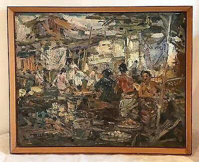 Market by Karyono Vintage 1950s/60s Oil on Canvas