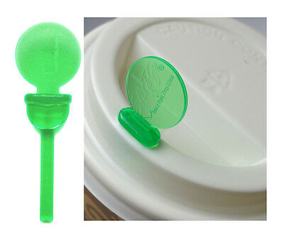 Coffee Cup Lid Sip Hole Plug Stopper Avoid Spills Stix To Go Green Pack of 25