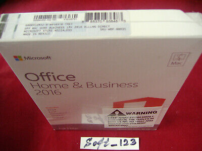 MS Microsoft Office MAC 2016 Home and Business for 1 User 1 Mac =RETAIL BOX=