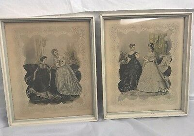 Vintage Framed La Mode Illustree Victorian Fashion  Print Lithograph lot of 2
