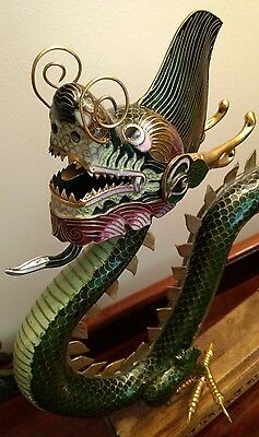 "Large 20"" Chinese Dragon Green Cloisonne Sculpture Enamel Gold Gilt Brass Statue"