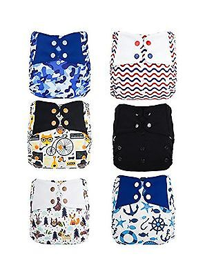 ElfDiaper All-in-One Cloth Diaper Boys Bundle Wave Moustached Fox Black K... New