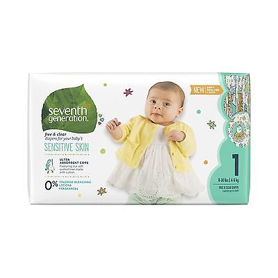 Seventh Generation Free and Clear Unbleached Baby Diapers Size 1 40ct (Pa... New