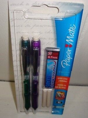 2 ELITE by Paper Mate - 0.7mm.  Mechanical Pencils GREEN/PURPLE BARRELS