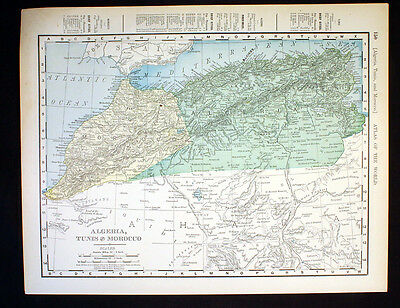 Antique Map Algeria Tunis Morocco 1898 Color