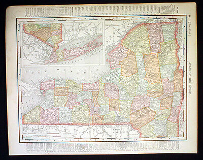 Antique Map New York or Connecticut 1898 Color