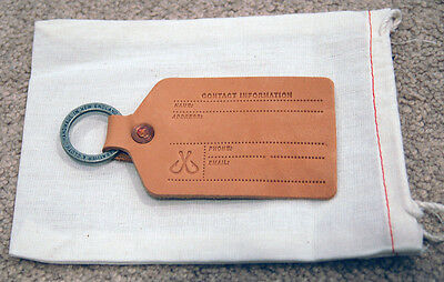 Corter Leather & Cloth - Luggage Tag - Handmade Natural Leather (Left Ring)