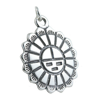 Native American Indian Sun Face 925 Solid Sterling Silver Charm Pendant USA MADE