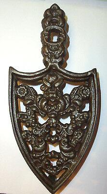 Antique Cast Iron Trivet Fancy Sad Iron Heavy Footed Stand Farm Country Kitchen