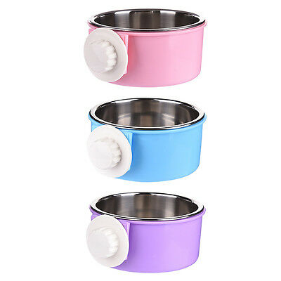 Cage Hanging Dog Bowl Pet Food Dish Feeder Detachable Stainless Steel Container