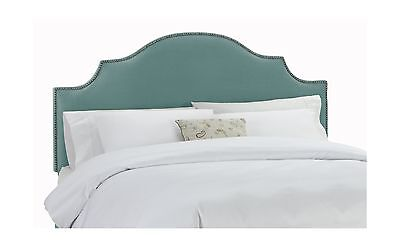 Skyline Furniture Velvet Full/Queen Notched Nail Button Headboard Caribbean New