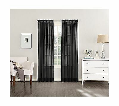 Black Sheer Crushed Voile Window Covering / Curtain / Drape / Panel / Tre... New
