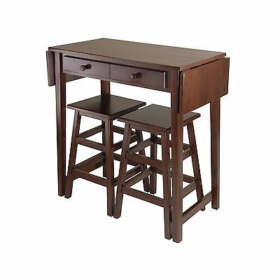 Winsome Wood Mercer Double Drop Leaf Table with 2 Stools New
