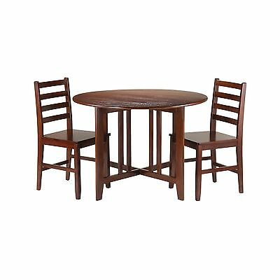 Winsome Wood Alamo 3-Piece Round Drop Leaf Table with 2 Hamilton Ladder B... New