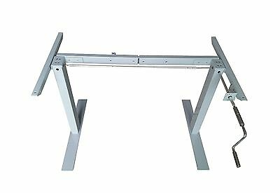 AnthroDesk Manual Crank Adjustable Height Standing /Sit-Stand Desk Frame ... New
