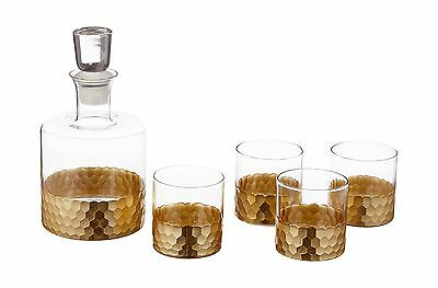 Fitz and Floyd Daphne 5 Piece Whiskey Set Gold New