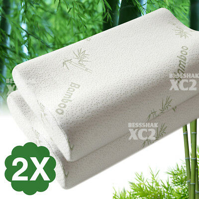 2x Pack Luxury Bamboo Contour Pillow Memory Foam Fabric Fibre Cover 50 x 30cm