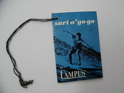 c.1960s Campus Swimwear Surf a'go go Surfing Terms Swimsuit Tag Brochure Vintage