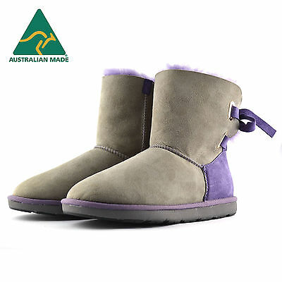 Fashion UGG Boots - Grey with Purple Lacing - Made In Australia  *Clearance*