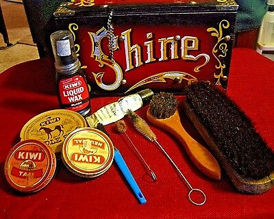 Vintage Wood Shoe Shine Box and Brushes and Tins