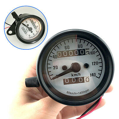 Universal Motorcycle Chrome Custom Speedo Speedometer Odometer With Night Light