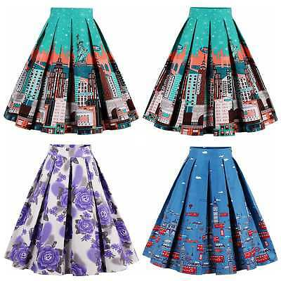 Women's Vintage 1950s Hight Waist Style Retro Casual Evening Party Skater Skirt