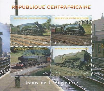 "TRAIN RAILWAY TRAVEL 5"" x 4.5"" REPUBLIQUE CENTRAFRICAINE 2011 MNH STAMP SHEETLET"