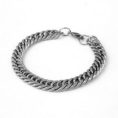 Silver Men's Stainless Steel Chain Link Punk Bracelet Wristband Bangle Jewelry