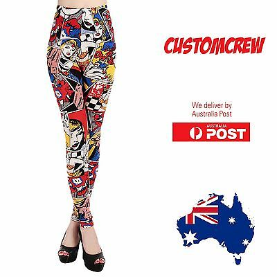 Wonder Woman Pop Comic Yoga Pants Tights Legging Gym Cosplay Printed - Coverlads