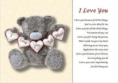I LOVE YOU - Personalised Poem ( A4 laminated gift)