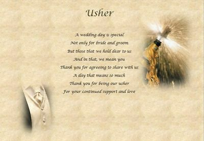 USHER/GROOMSMAN personalised wedding poem (Laminated Gift)