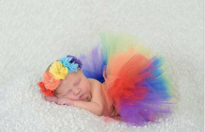 Rainbow Newborn Headdress Flower+Tutu Clothes Skirt Baby Girl Photo Prop Outfits